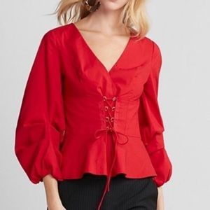 Express Red Corset Top with Side Zipper, Sz M
